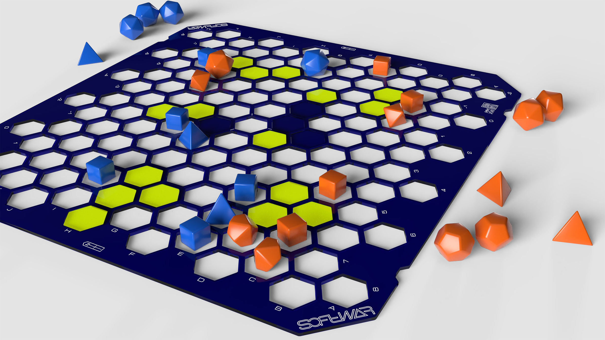 Blue with Fluorescent Yellow tiles | Blue and Orange dice