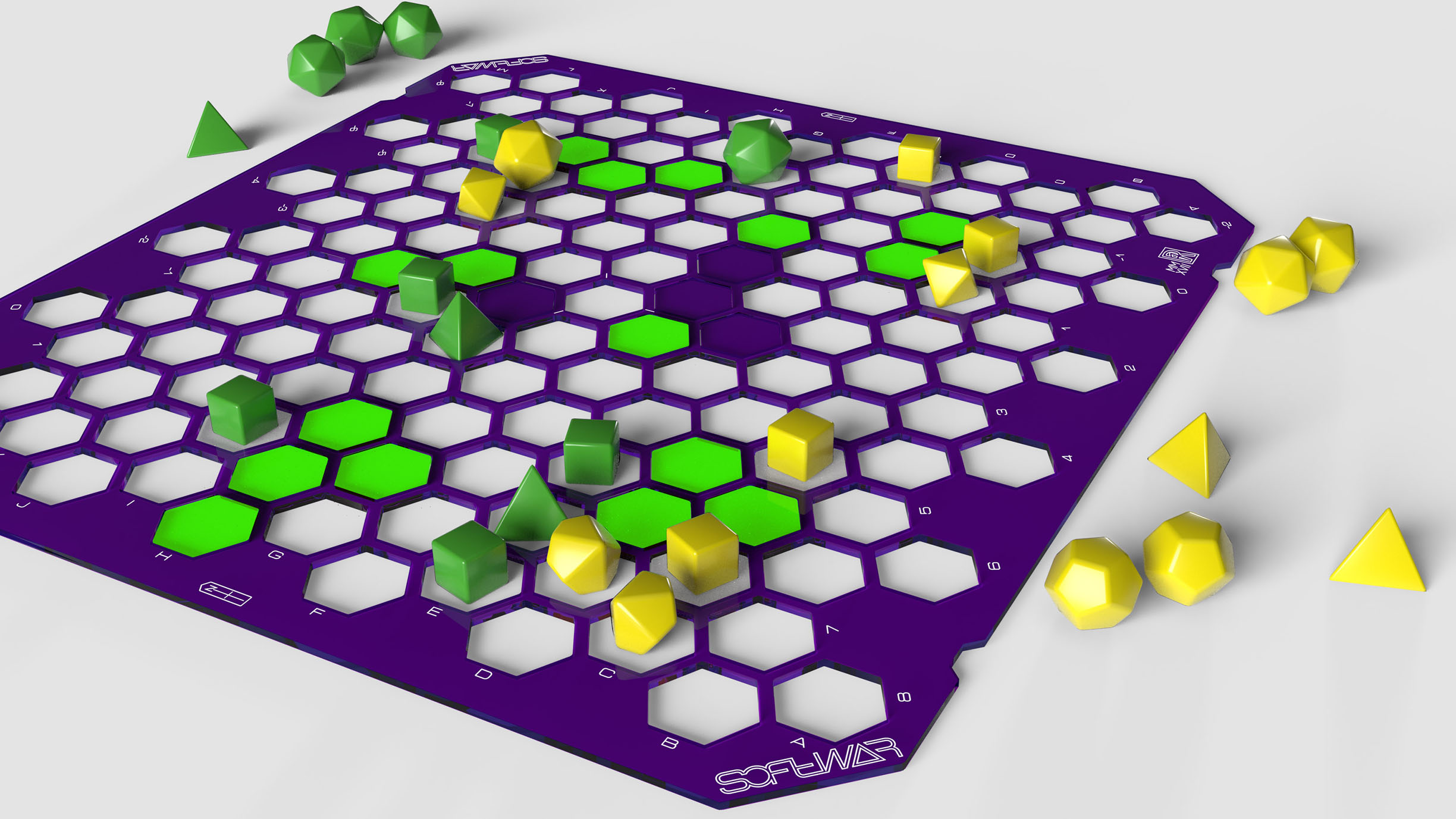 Fluorescent Green with Pruple tiles | Green and Yellow dice