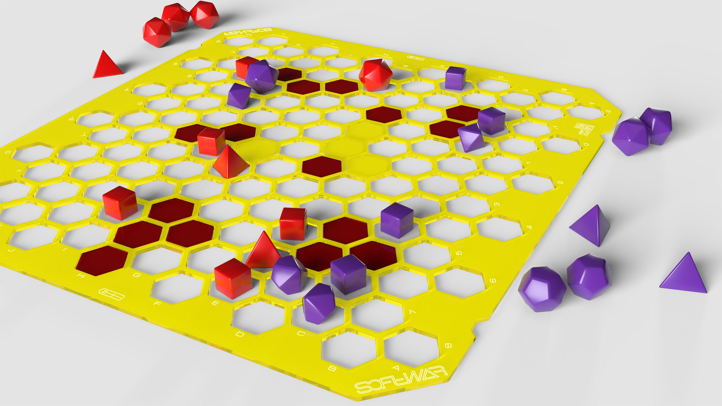 Yellow with Red tiles | Red and Purple dice